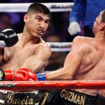 June 4, 2010 - Los Angeles, CA; Mikey Garcia and Rafael Guzman trade punches during their bout at the Staples Center in Los Angeles, California.